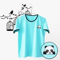 Ringer Tee / T-Shirt / Kaos Wanita Panda Warna Hijau Tosca