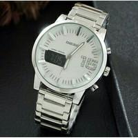 Jam Tangan Pria / Cowok Diesel Elegant Rantai Silver White