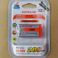 Baterai Petak ASTELLO 9v Rechargeable 200mah Battery 9 Volt