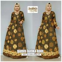Batik gamis koin sogan(fashion wanita,baju pesta,dress,hijab,kekinian)