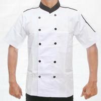 Baju chef pria/wanita/variasi hitam pendek