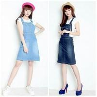 Vania Dress overall jeans pendek wanita jumbo mini dress jumpsuit