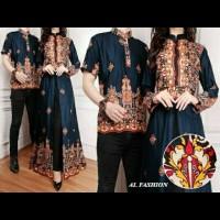TERMURAH couple khairani navy baju pasangan sarimbit batik undangan a