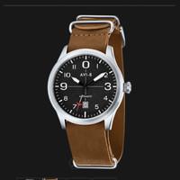 AVI-8 Man Flyboy Automatic Watch Black Dial Tan Leather Strap AV-4021-