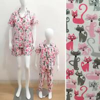 Baju Tidur Piyama Couple Mom&Kids Motif Cat pink