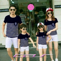 Baju Couple Family Sailor Navy 2 Anak - Pakaian Fashion Kaos Keluarga