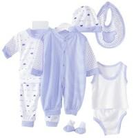 Set Pakaian Dan Topi Romper  Untuk Bayi Laki-laki Dan Perempuan 8 pcs