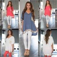White (S,M,L),Red (S,M) oversize arc Top -30202