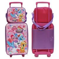 Original asli berkualitas Set Koper Anak Little Pony dan Lunch Bag