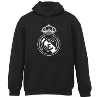 JAKET HOODIE REAL MADRID BLACK - WHITE