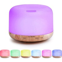 H26 - Wooden Humidifier Aroma Diffuser 7 Color LED Light 500ml