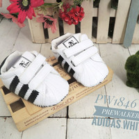 Prewalker adidas white garis hitam sepatu anak baby kids