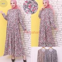 Baju Gamis Wanita Gamis Jumbo Kaos Import 4L-5L Motif Bunga 9136