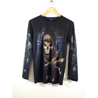 Baju Kaos Spandex Pria Lengan Panjang Sablon Gambar Tengkorak/Skull