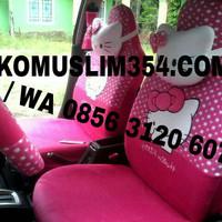 Sarung Jok Mobil Agya&Ayla 18 in 1 Motif Hello Kitty Pink Bintik Putih