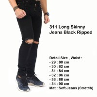 celana jeans hitam cowok pria ripped /celana sobek jeans hitam panjang