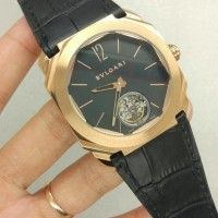 Jam Tangan Pria Bvlgari one Tourbillon Rose gold Black Leather