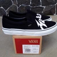 Sepatu vans slip on metallica black white original premium import