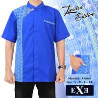Kemeja / Baju Koko Muslim Pria eXe - Biru Kombinasi Batik