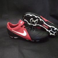sepatu bola Nike Tiempo Red black kulit asli