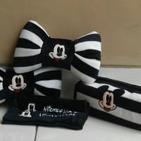 Set Bantal Mobil 3 in 1 MICKEY MOUSE Black Stripe White