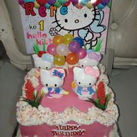 Kue Tart ultah ukuran 18x18 cm Asesoris Hello Kitty
