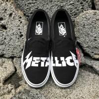 Sepatu Vans X Metallica Slip On Classic Black White ICC BNIB Original