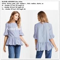 Baju Atasan Ruffle Blouse Wanita Korea Import Garis Biru Putih Blue
