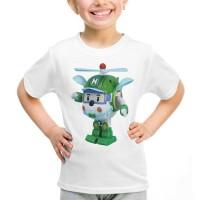 Kaos Baju Tshirt Anak Robocar Poli Karakter Heli Putih