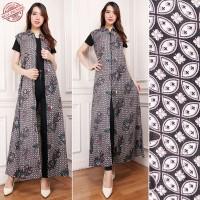 Dewi  Blazer 2in1 batik dress maxi panjang  wanita fit to XL