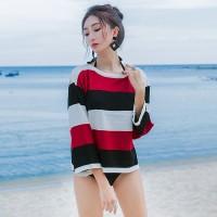 Kaos Lengan Panjang Wanita Red Summer Loose Stripe Import Original