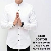 Baju Kemeja Lengan Panjang Casual Formal Pria Putih Polos Slimfit - Putih, M