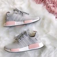 sepatu sneakers adidas nmd r1 Grey Pink premium grade ori women cewek