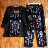 setelan ethnic blouse celana kulot fashion wanita kain tenun jepara