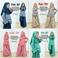 Yuki Set Kid Baju Muslim Anak Set Setelan Atasan Celana Kulot Jilbab