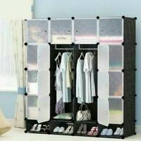 Lemari Rakit Plastik Baju Anak + Rak Sepatu Multifungsi 16 Pintu/Susun