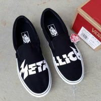 Vans Slip On Metallica Black White - Vans fog Sepatu Slip On Vans Pria
