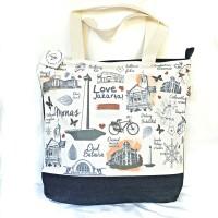 Tote Bag Kanvas Print Oleh-oleh Khas Jakarta Indonesia PJSDA