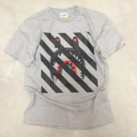 T-Shirt Bathing Ape Bape Shark X Off White Mirror Quality