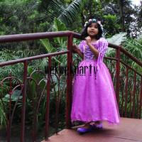 Baju Kostum Princess RAPUNZEL PREMIUM Dress Anak Perempuan Ultah