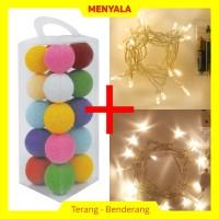 Cotton Ball Light - Lampion Benang - TERMASUK LAMPU - Rainbow Tone
