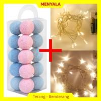 Cotton Ball Light - Lampion Benang - TERMASUK LAMPU - Sky Pale Pink