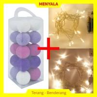 Cotton Ball Light - Lampion Benang - TERMASUK LAMPU - Purple Tone