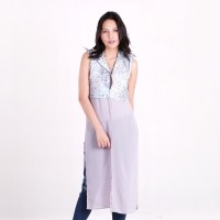 Batik Pria Tampan - Long Vest Kombinasi Sifon Pewter Alligator Stripe - pewter, L