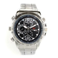 Camera Spy Cam Watch Stainless SC 8GB Kamera Pengintai Jam Tangan Besi