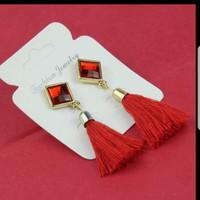 Tassel long earring red
