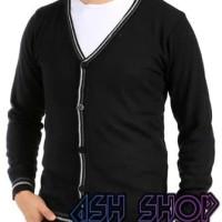 Cardigan Sweater Pria Kancing Jaket Rajut Cowok Hitam Ariel AS-35