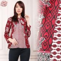 SB Collection Atasan Blouse Haifa Kemeja Batik Lengan Panjang Wanita