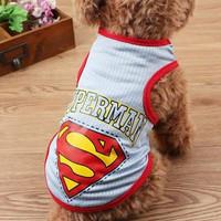 Baju anjing / kucing motif gambar superman