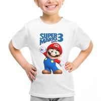 Kaos Baju Tshirt Anak Kartun Super Mario Bros 01 Putih